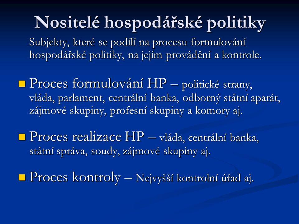 Nositelé hospodářské politiky Subjekty, které se podílí na procesu formulování hospodářské politiky, na jejím provádění a kontrole. Proces formulování