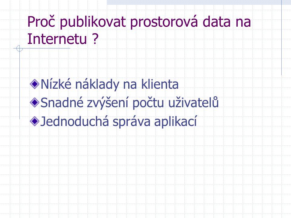 Proč publikovat prostorová data na Internetu ? Nízké náklady na klienta Snadné zvýšení počtu uživatelů Jednoduchá správa aplikací