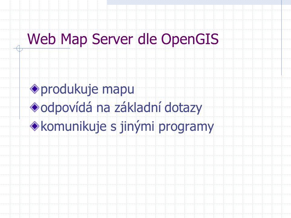 produkuje mapu odpovídá na základní dotazy komunikuje s jinými programy Web Map Server dle OpenGIS