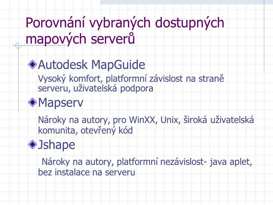 Autodesk MapGuide Vysoký komfort, platformní závislost na straně serveru, uživatelská podpora Mapserv Nároky na autory, pro WinXX, Unix, široká uživatelská komunita, otevřený kód Jshape Nároky na autory, platformní nezávislost- java aplet, bez instalace na serveru Porovnání vybraných dostupných mapových serverů