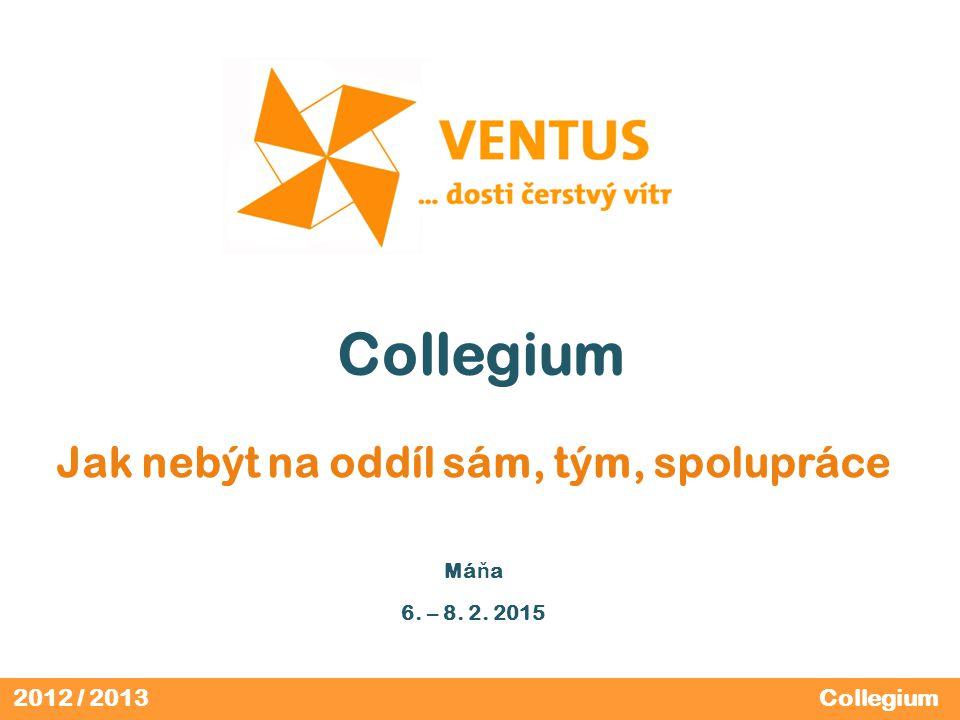 2012 / 2013 Collegium Jak nebýt na oddíl sám, tým, spolupráce Má ň a 6. – 8. 2. 2015 Collegium