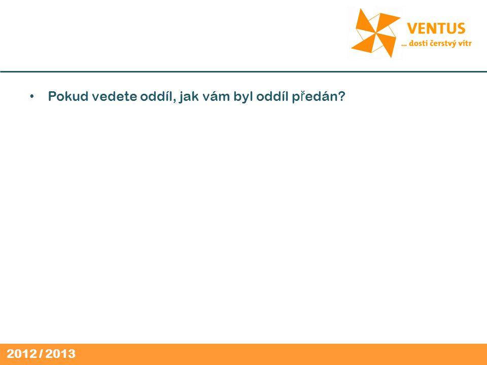 2012 / 2013 Pokud vedete oddíl, jak vám byl oddíl p ř edán?