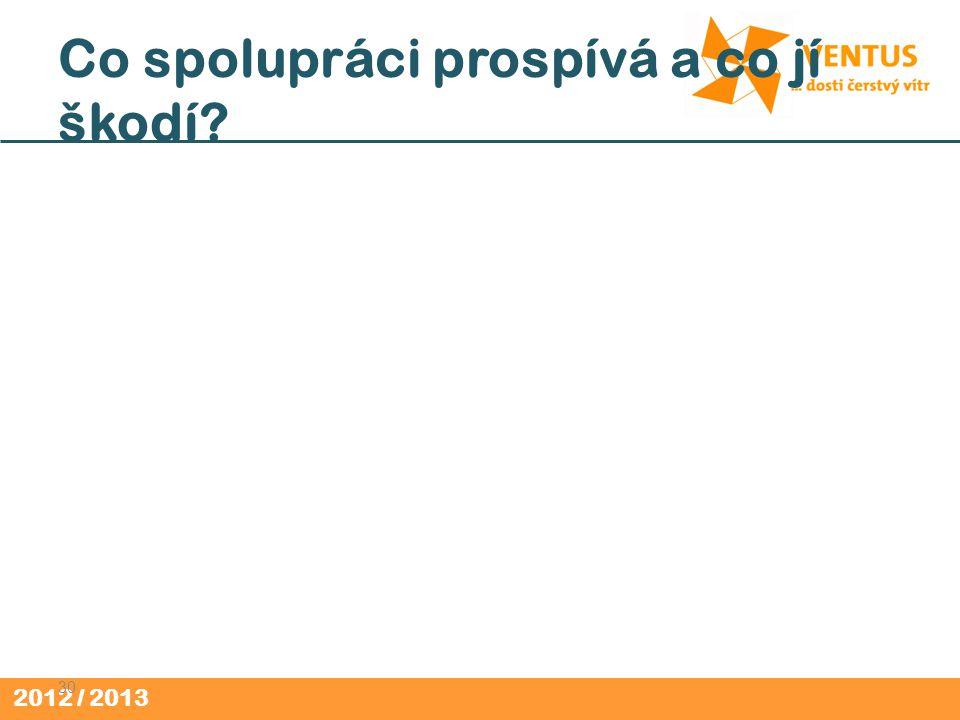 2012 / 2013 Co spolupráci prospívá a co jí škodí? 30