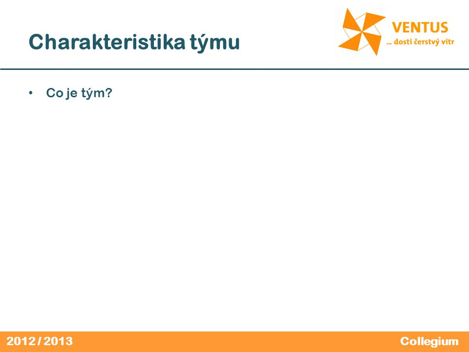 2012 / 2013 Charakteristika týmu Tým je skupina Ne ka ž dá skupina je tým Synergický efekt (1+1>2) Collegium