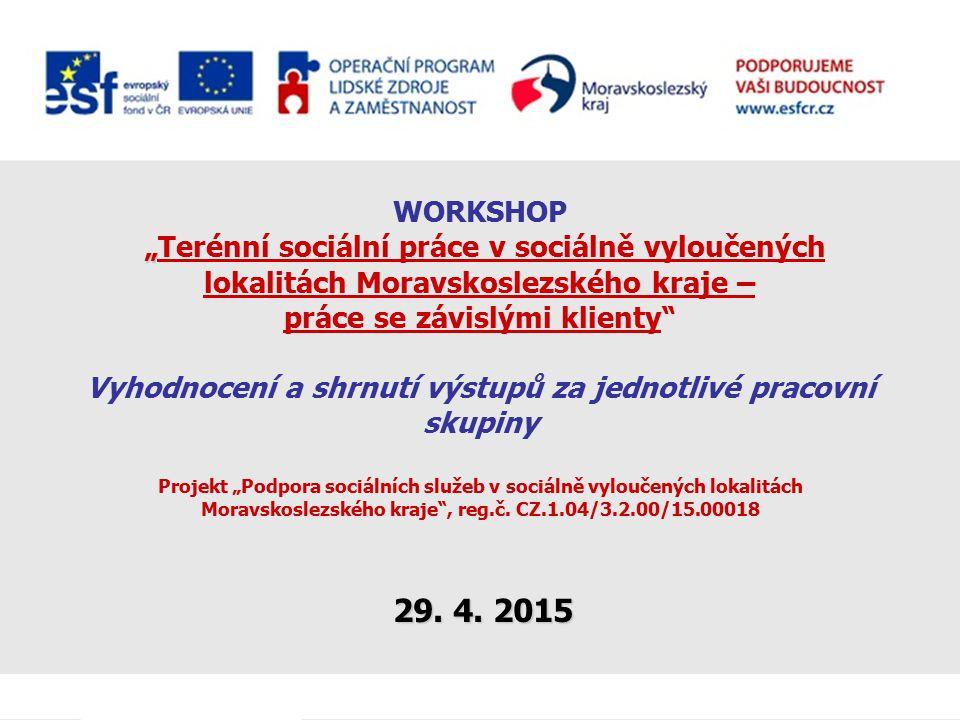""""""" WORKSHOP """"Terénní sociální práce v sociálně vyloučených lokalitách Moravskoslezského kraje – práce se závislými klienty"""" Vyhodnocení a shrnutí výstu"""
