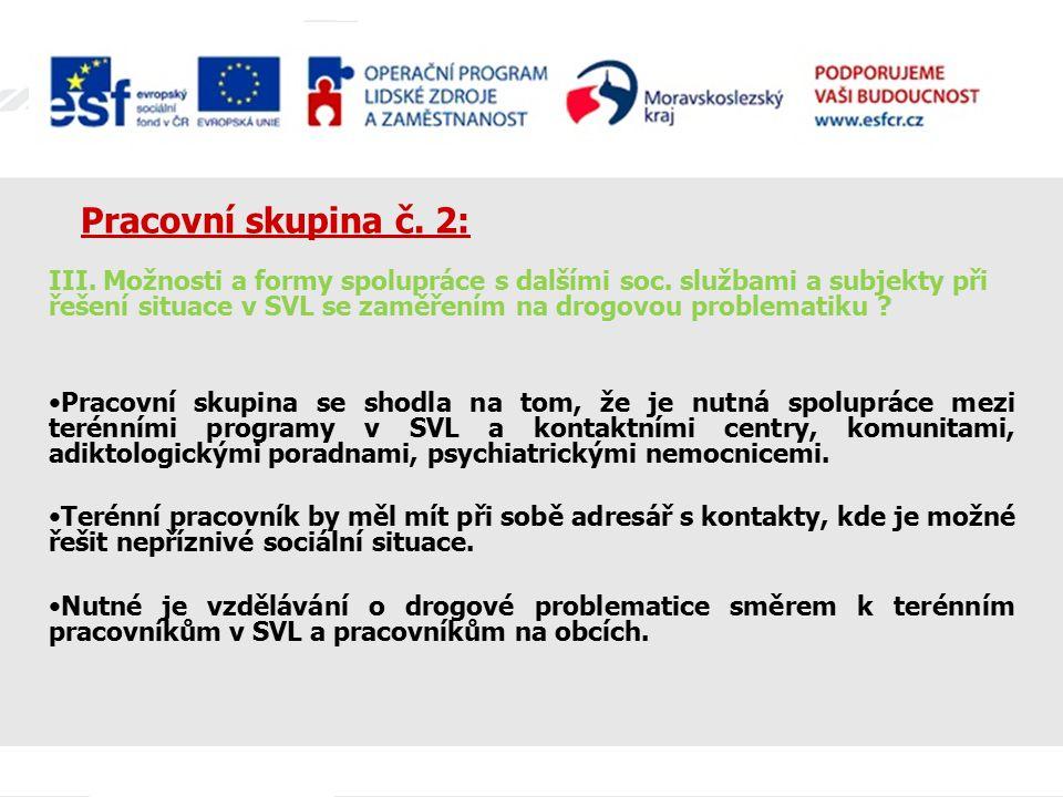 Pracovní skupina č. 2: III. Možnosti a formy spolupráce s dalšími soc. službami a subjekty při řešení situace v SVL se zaměřením na drogovou problemat
