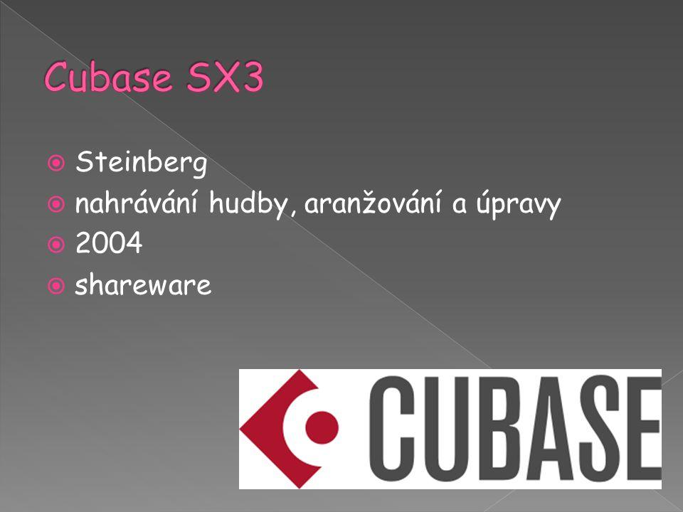  Steinberg  nahrávání hudby, aranžování a úpravy  2004  shareware