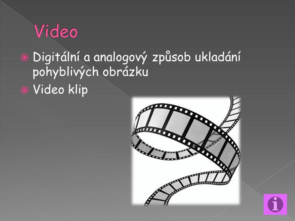  Digitální a analogový způsob ukladání pohyblivých obrázku  Video klip