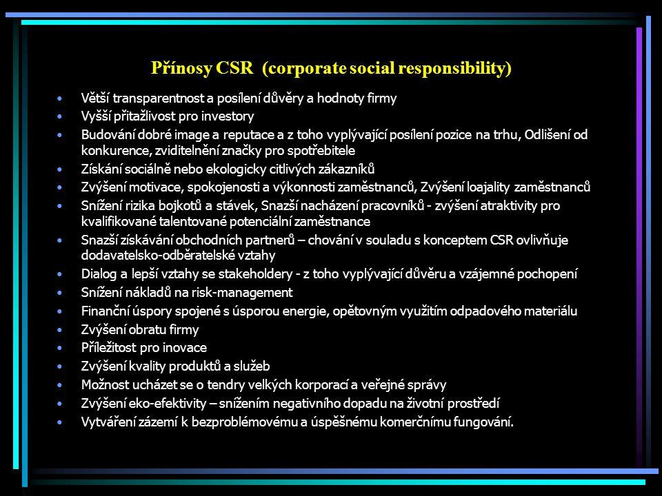 Přínosy CSR (corporate social responsibility) Větší transparentnost a posílení důvěry a hodnoty firmy Vyšší přitažlivost pro investory Budování dobré