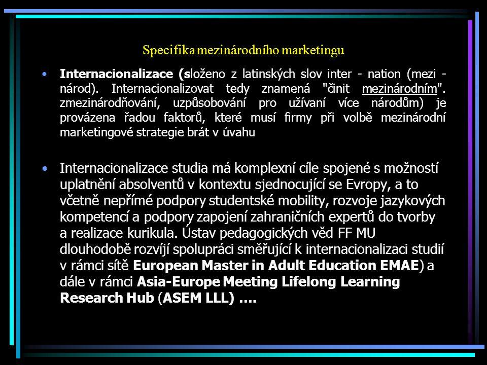 Specifika mezinárodního marketingu Internacionalizace (složeno z latinských slov inter - nation (mezi - národ). Internacionalizovat tedy znamená