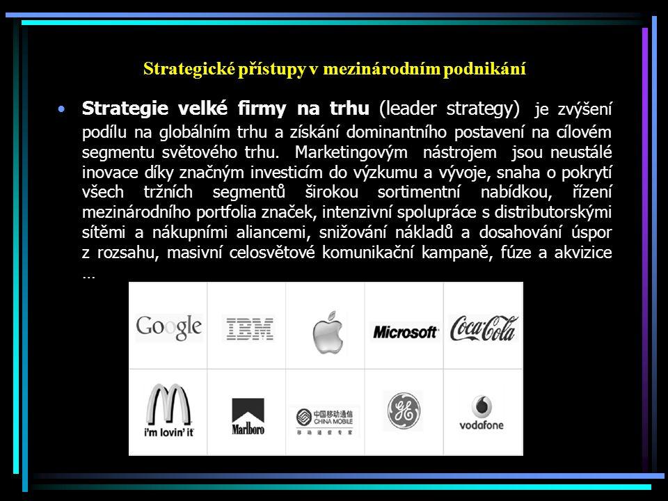 Strategické přístupy v mezinárodním podnikání Strategie velké firmy na trhu (leader strategy) je zvýšení podílu na globálním trhu a získání dominantní