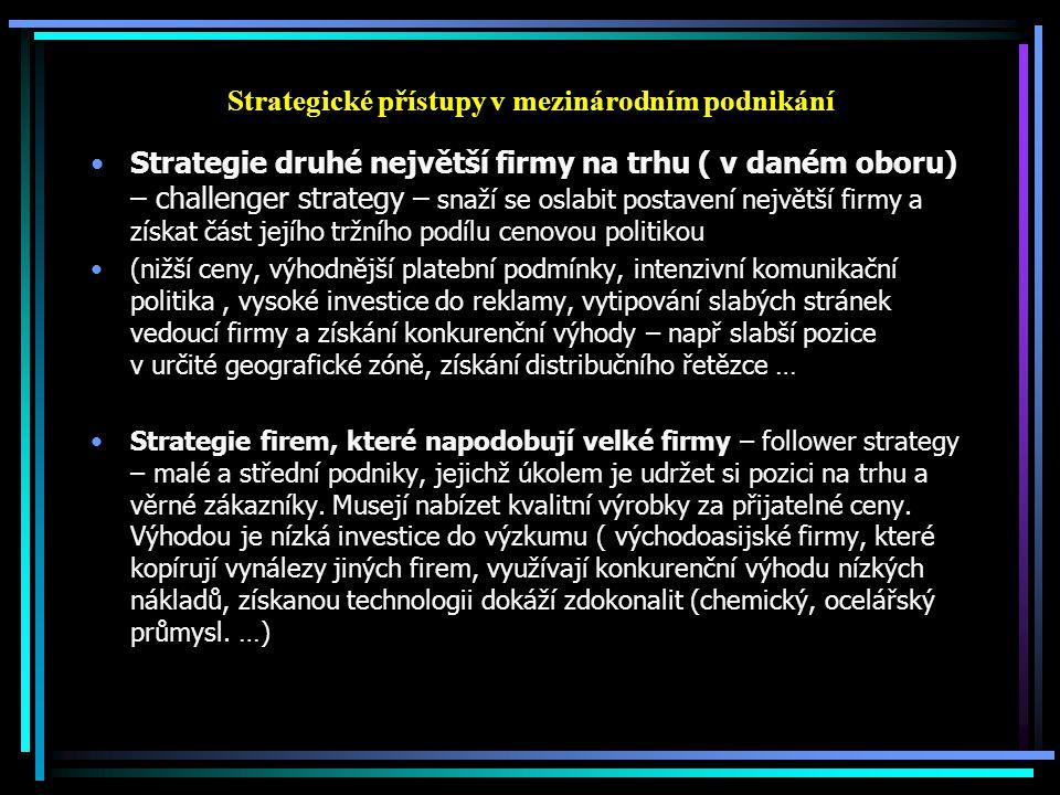 Strategické přístupy v mezinárodním podnikání Strategie druhé největší firmy na trhu ( v daném oboru) – challenger strategy – snaží se oslabit postave