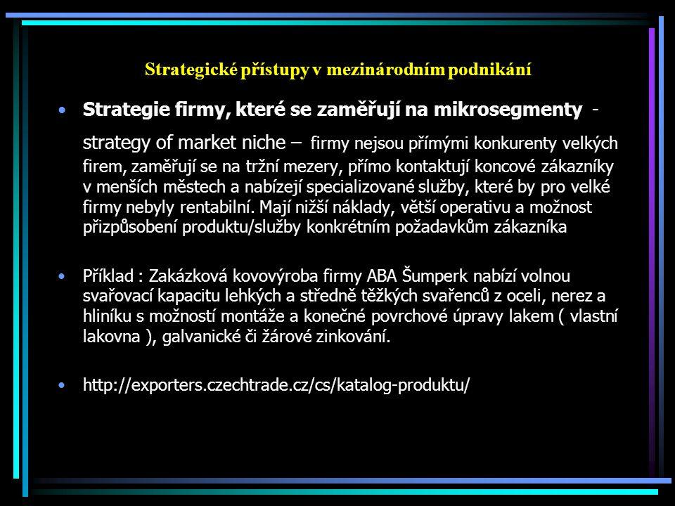 Strategické přístupy v mezinárodním podnikání Strategie firmy, které se zaměřují na mikrosegmenty - strategy of market niche – firmy nejsou přímými ko