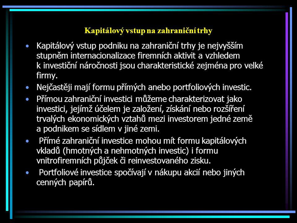 Kapitálový vstup na zahraniční trhy Kapitálový vstup podniku na zahraniční trhy je nejvyšším stupněm internacionalizace firemních aktivit a vzhledem k