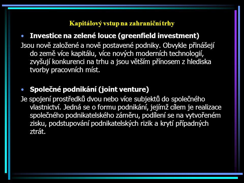 Kapitálový vstup na zahraniční trhy Investice na zelené louce (greenfield investment) Jsou nově založené a nově postavené podniky. Obvykle přinášejí d