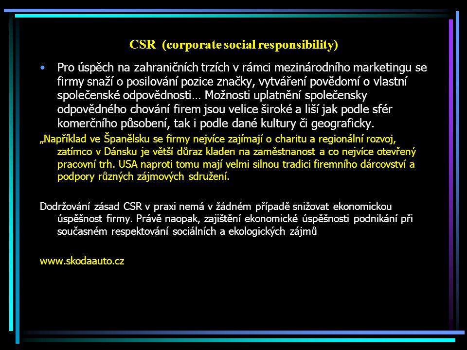 Přínosy CSR (corporate social responsibility) Větší transparentnost a posílení důvěry a hodnoty firmy Vyšší přitažlivost pro investory Budování dobré image a reputace a z toho vyplývající posílení pozice na trhu, Odlišení od konkurence, zviditelnění značky pro spotřebitele Získání sociálně nebo ekologicky citlivých zákazníků Zvýšení motivace, spokojenosti a výkonnosti zaměstnanců, Zvýšení loajality zaměstnanců Snížení rizika bojkotů a stávek, Snazší nacházení pracovníků - zvýšení atraktivity pro kvalifikované talentované potenciální zaměstnance Snazší získávání obchodních partnerů – chování v souladu s konceptem CSR ovlivňuje dodavatelsko-odběratelské vztahy Dialog a lepší vztahy se stakeholdery - z toho vyplývající důvěru a vzájemné pochopení Snížení nákladů na risk-management Finanční úspory spojené s úsporou energie, opětovným využitím odpadového materiálu Zvýšení obratu firmy Příležitost pro inovace Zvýšení kvality produktů a služeb Možnost ucházet se o tendry velkých korporací a veřejné správy Zvýšení eko-efektivity – snížením negativního dopadu na životní prostředí Vytváření zázemí k bezproblémovému a úspěšnému komerčnímu fungování.