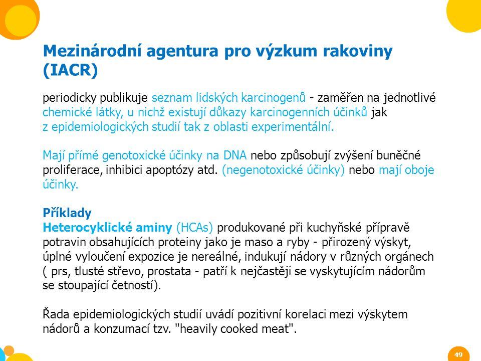 Mezinárodní agentura pro výzkum rakoviny (IACR) periodicky publikuje seznam lidských karcinogenů - zaměřen na jednotlivé chemické látky, u nichž exist