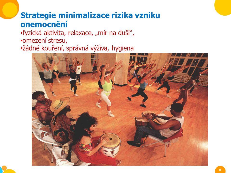 """Strategie minimalizace rizika vzniku onemocnění fyzická aktivita, relaxace, """"mír na duši"""", omezení stresu, žádné kouření, správná výživa, hygiena 8"""