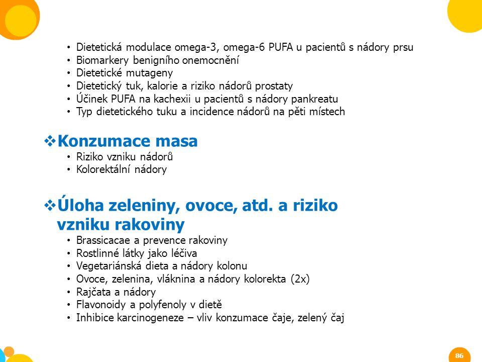 Dietetická modulace omega-3, omega-6 PUFA u pacientů s nádory prsu Biomarkery benigního onemocnění Dietetické mutageny Dietetický tuk, kalorie a rizik