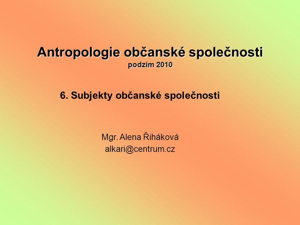 Antropologie občanské společnosti podzim 2010 6. Subjekty občanské společnosti Mgr.