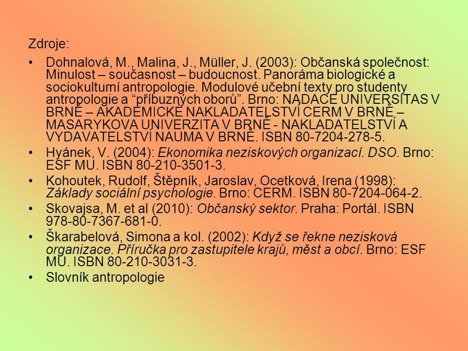 Zdroje: Dohnalová, M., Malina, J., Müller, J.