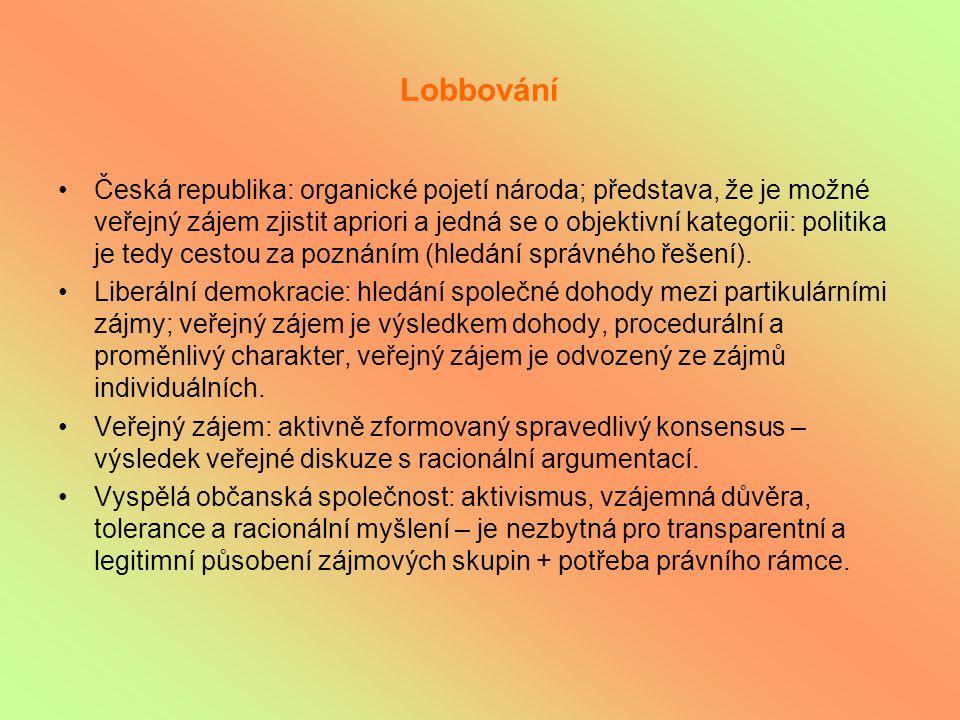 Lobbování Česká republika: organické pojetí národa; představa, že je možné veřejný zájem zjistit apriori a jedná se o objektivní kategorii: politika je tedy cestou za poznáním (hledání správného řešení).
