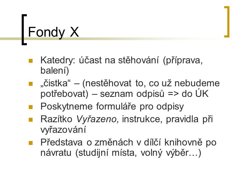 """Fondy X Katedry: účast na stěhování (příprava, balení) """"čistka"""" – (nestěhovat to, co už nebudeme potřebovat) – seznam odpisů => do ÚK Poskytneme formu"""