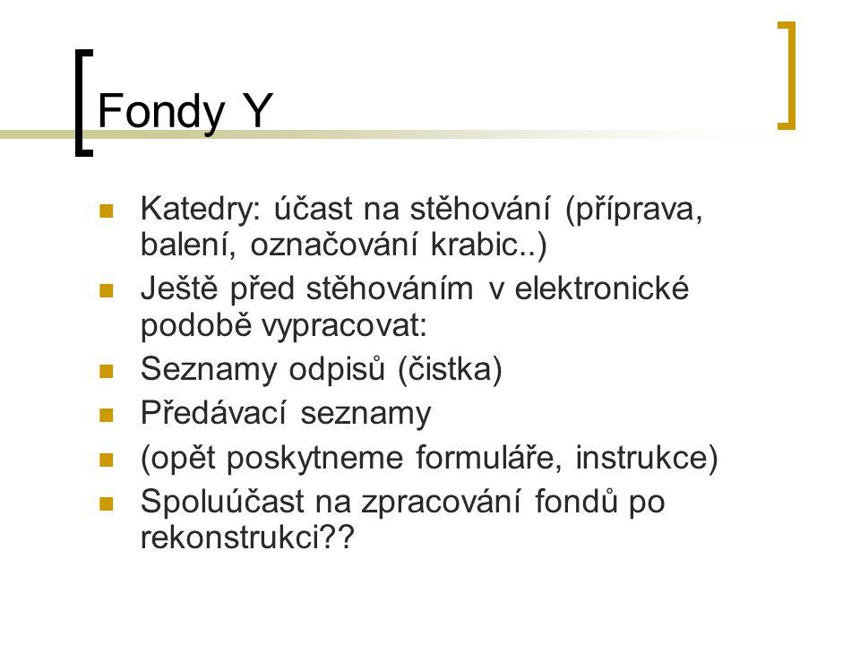 Fondy Y Katedry: účast na stěhování (příprava, balení, označování krabic..) Ještě před stěhováním v elektronické podobě vypracovat: Seznamy odpisů (či