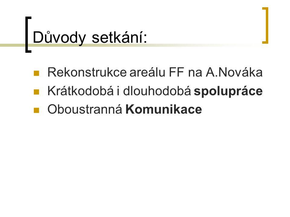 Důvody setkání: Rekonstrukce areálu FF na A.Nováka Krátkodobá i dlouhodobá spolupráce Oboustranná Komunikace