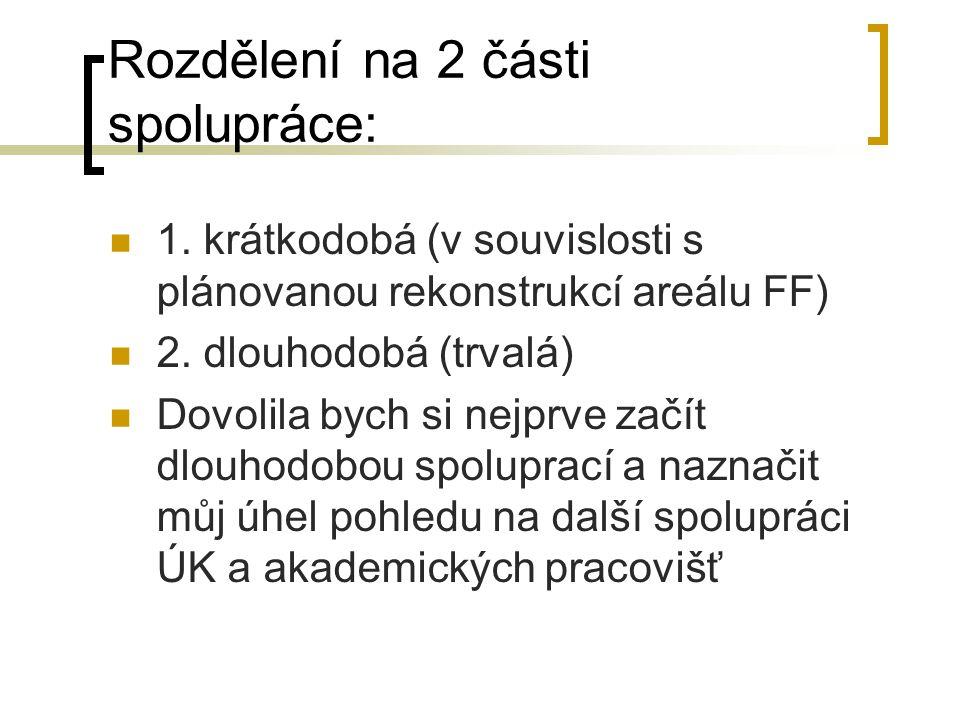 Rozdělení na 2 části spolupráce: 1.