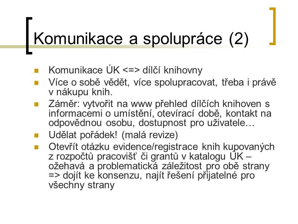 Komunikace a spolupráce (2) Komunikace ÚK dílčí knihovny Více o sobě vědět, více spolupracovat, třeba i právě v nákupu knih. Záměr: vytvořit na www př