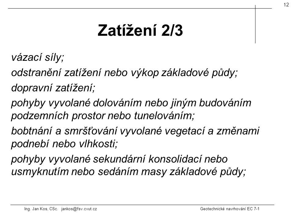 Ing. Jan Kos, CSc. jankos@fsv.cvut.cz Geotechnické navrhování EC 7-1 12 vázací síly; odstranění zatížení nebo výkop základové půdy; dopravní zatížení;