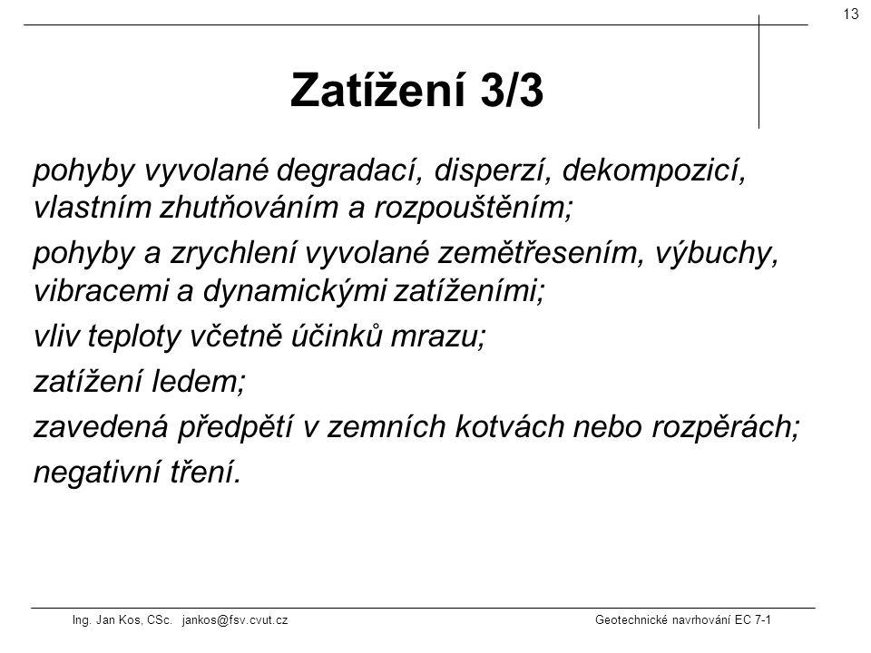 Ing. Jan Kos, CSc. jankos@fsv.cvut.cz Geotechnické navrhování EC 7-1 13 pohyby vyvolané degradací, disperzí, dekompozicí, vlastním zhutňováním a rozpo