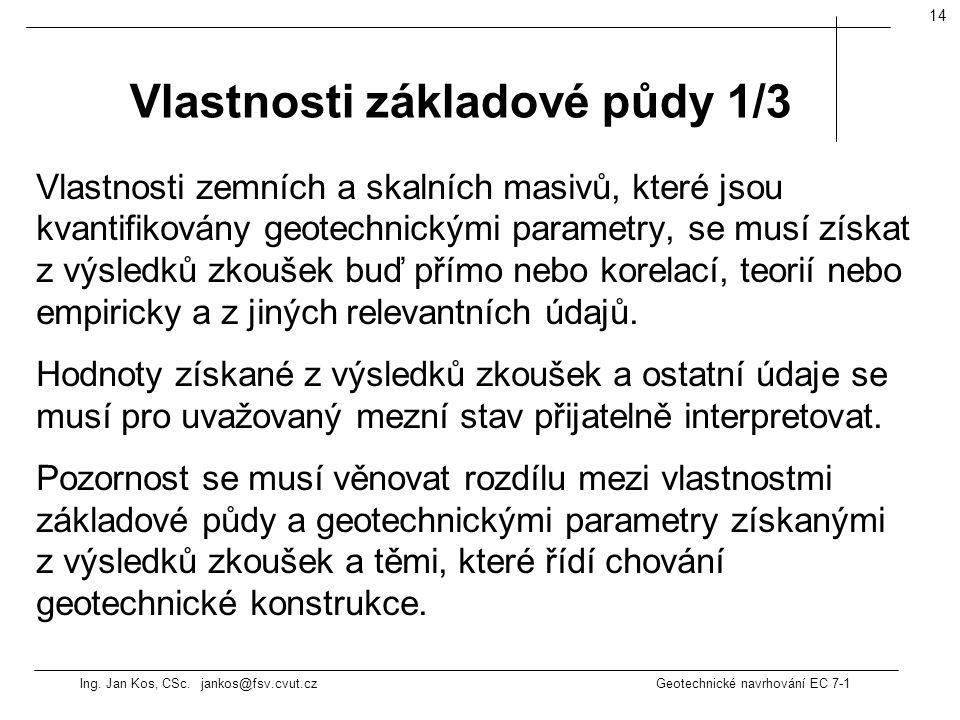 Ing. Jan Kos, CSc. jankos@fsv.cvut.cz Geotechnické navrhování EC 7-1 14 Vlastnosti zemních a skalních masivů, které jsou kvantifikovány geotechnickými