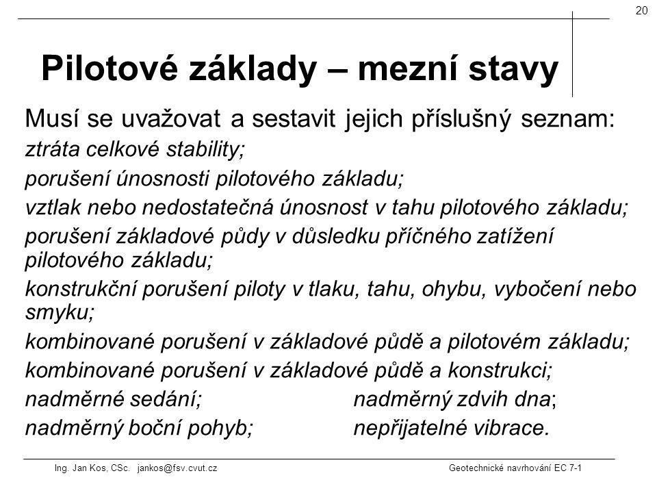 Ing. Jan Kos, CSc. jankos@fsv.cvut.cz Geotechnické navrhování EC 7-1 20 Musí se uvažovat a sestavit jejich příslušný seznam: ztráta celkové stability;