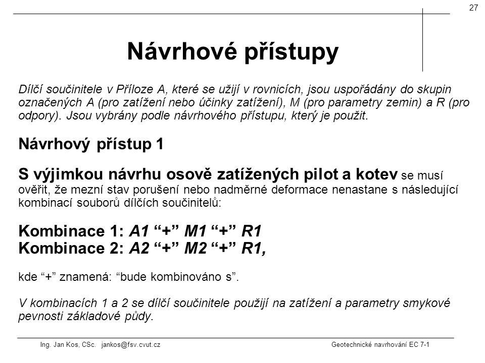 Ing. Jan Kos, CSc. jankos@fsv.cvut.cz Geotechnické navrhování EC 7-1 27 Dílčí součinitele v Příloze A, které se užijí v rovnicích, jsou uspořádány do