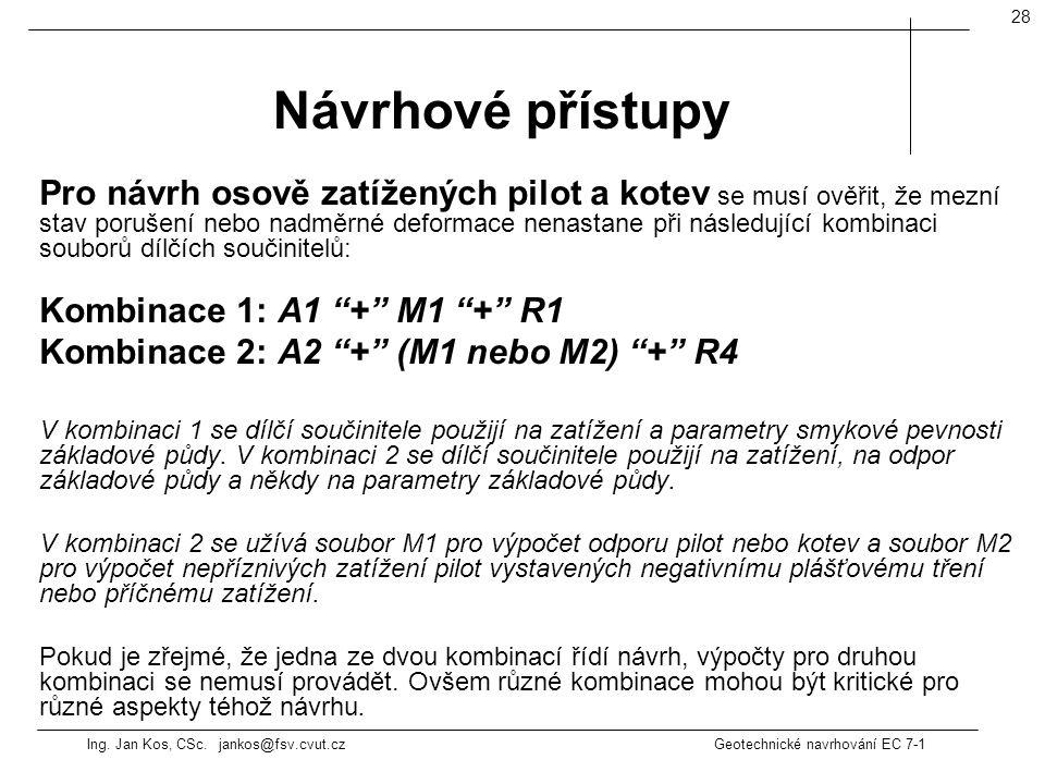Ing. Jan Kos, CSc. jankos@fsv.cvut.cz Geotechnické navrhování EC 7-1 28 Pro návrh osově zatížených pilot a kotev se musí ověřit, že mezní stav porušen