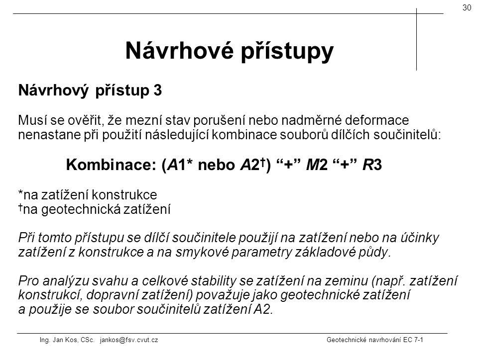 Ing. Jan Kos, CSc. jankos@fsv.cvut.cz Geotechnické navrhování EC 7-1 30 Návrhový přístup 3 Musí se ověřit, že mezní stav porušení nebo nadměrné deform
