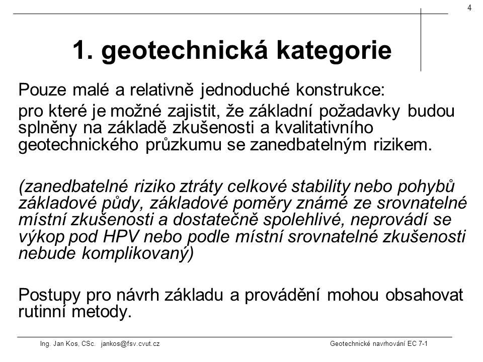 Ing. Jan Kos, CSc. jankos@fsv.cvut.cz Geotechnické navrhování EC 7-1 4 Pouze malé a relativně jednoduché konstrukce: pro které je možné zajistit, že z