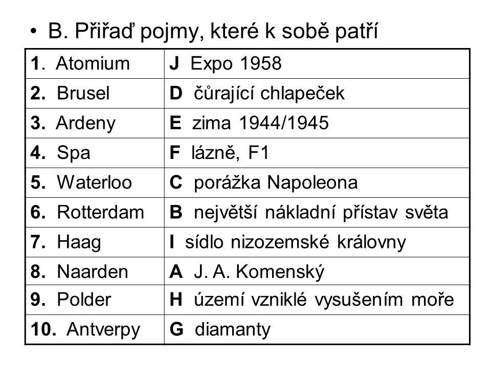 B. Přiřaď pojmy, které k sobě patří 1. AtomiumJ Expo 1958 2. BruselD čůrající chlapeček 3. ArdenyE zima 1944/1945 4. SpaF lázně, F1 5. WaterlooC poráž