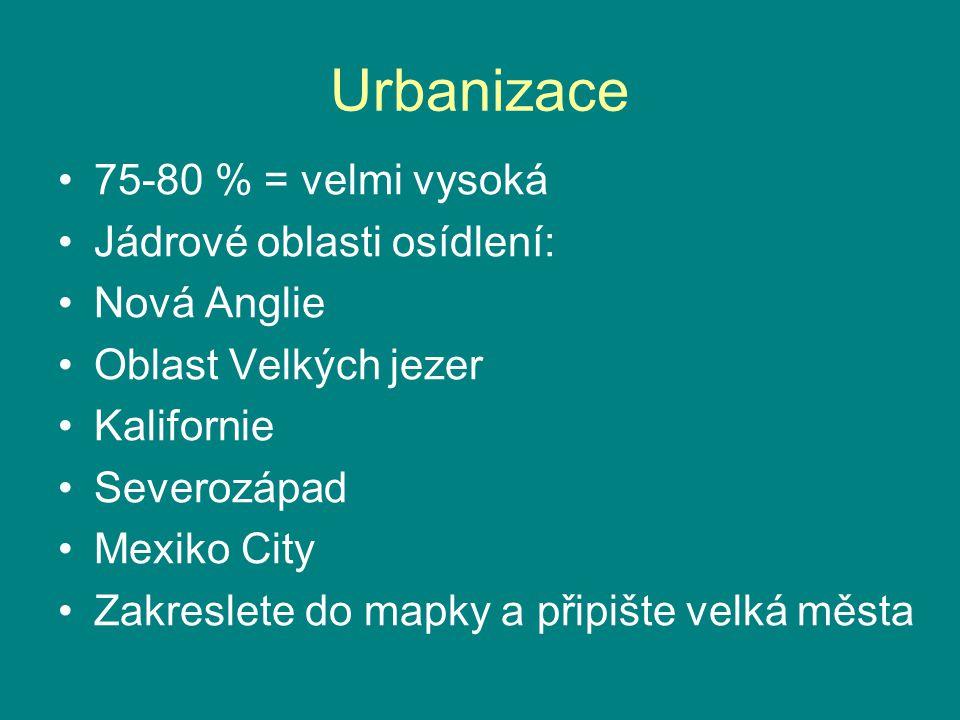 Urbanizace 75-80 % = velmi vysoká Jádrové oblasti osídlení: Nová Anglie Oblast Velkých jezer Kalifornie Severozápad Mexiko City Zakreslete do mapky a