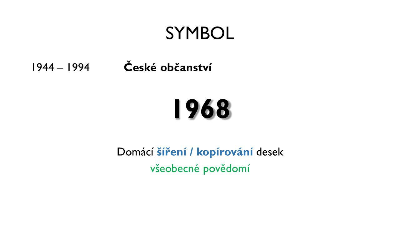 SYMBOL 1944 – 1994 České občanství1968 Domácí šíření / kopírování desek všeobecné povědomí