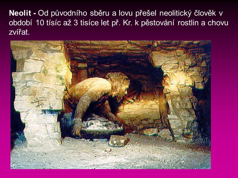 Neolit - Od původního sběru a lovu přešel neolitický člověk v období 10 tísíc až 3 tisíce let př.