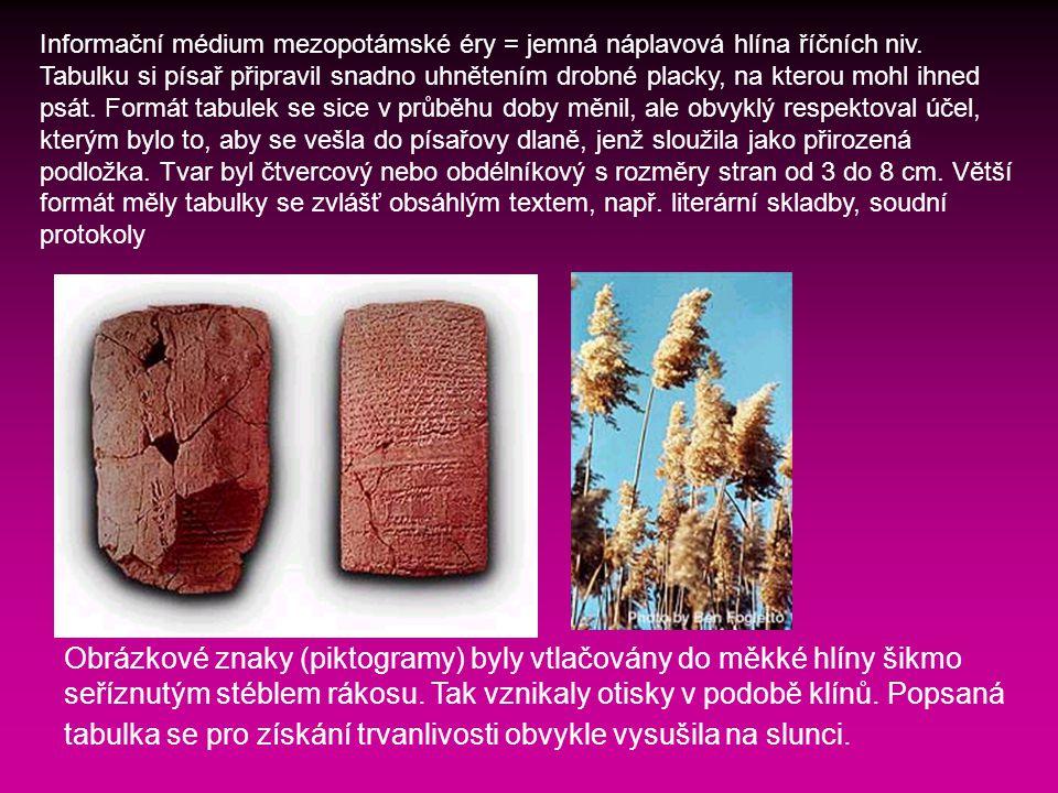 Obrázkové znaky (piktogramy) byly vtlačovány do měkké hlíny šikmo seříznutým stéblem rákosu.