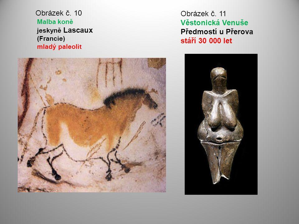 Obrázek č. 10 Malba koně jeskyně Lascaux (Francie) mladý paleolit Obrázek č. 11 Věstonická Venuše Předmostí u Přerova stáří 30 000 let