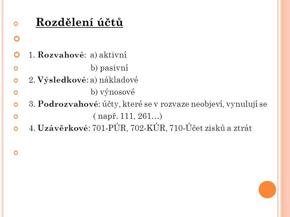 Rozdělení účtů 1. Rozvahové : a) aktivní b) pasivní 2.