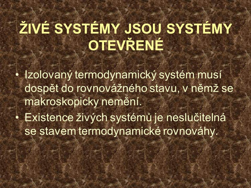 ŽIVÉ SYSTÉMY JSOU SYSTÉMY OTEVŘENÉ Izolovaný termodynamický systém musí dospět do rovnovážného stavu, v němž se makroskopicky nemění.