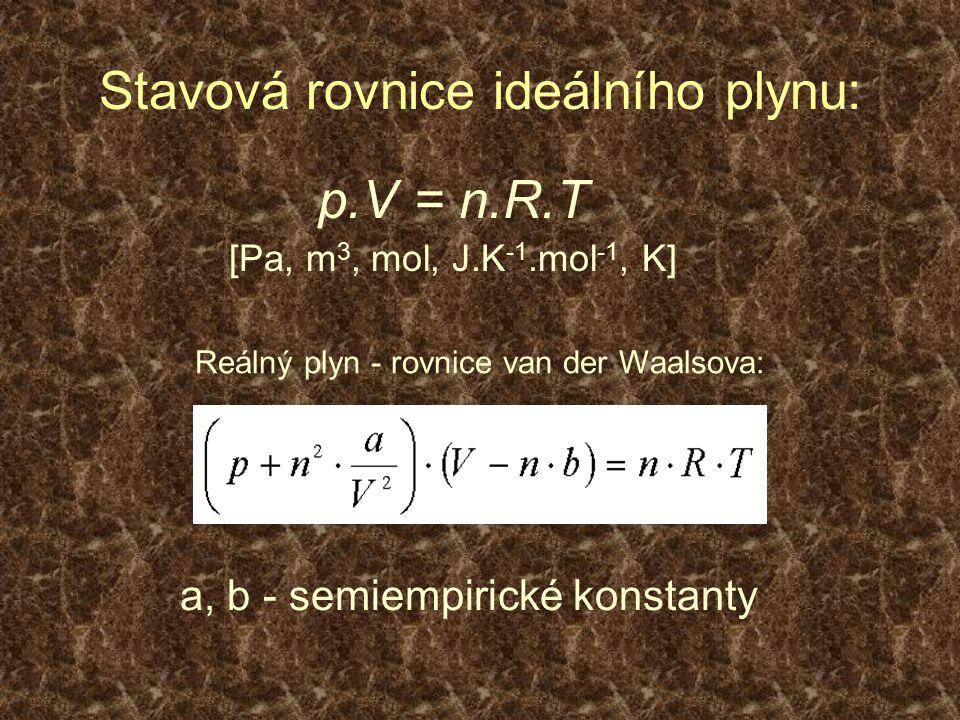 Stavová rovnice ideálního plynu: p.V = n.R.T [Pa, m 3, mol, J.K -1.mol -1, K] a, b - semiempirické konstanty Reálný plyn - rovnice van der Waalsova: