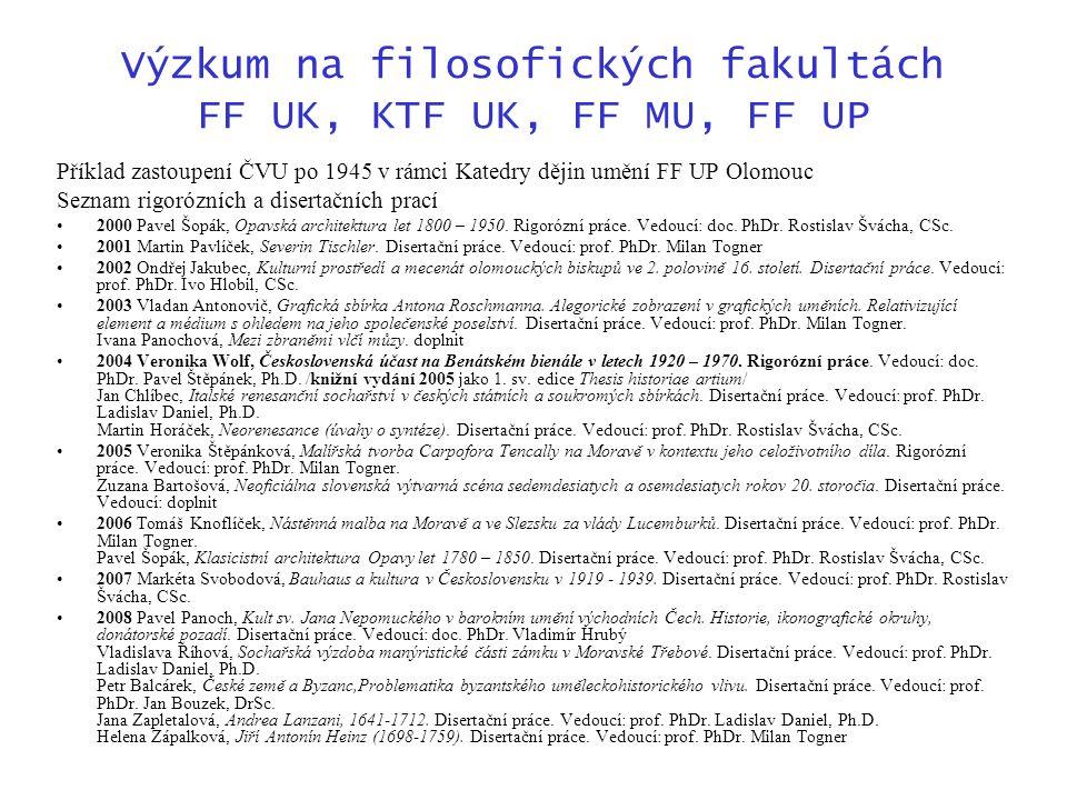 Výzkum na filosofických fakultách FF UK, KTF UK, FF MU, FF UP Příklad zastoupení ČVU po 1945 v rámci Katedry dějin umění FF UP Olomouc Seznam rigorózních a disertačních prací 2000 Pavel Šopák, Opavská architektura let 1800 – 1950.