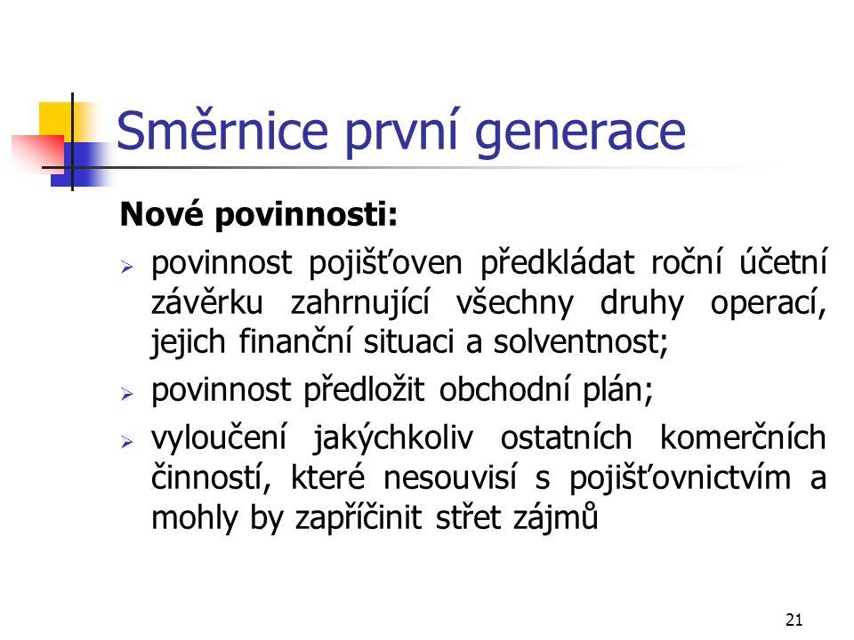 21 Směrnice první generace Nové povinnosti:  povinnost pojišťoven předkládat roční účetní závěrku zahrnující všechny druhy operací, jejich finanční s